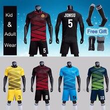Kid Männer Fußball Jersey Sets survêtement Fußball Kit jugend Futbol Training Uniformen anzug Sportler Fußball Shin Guards Pads Socken