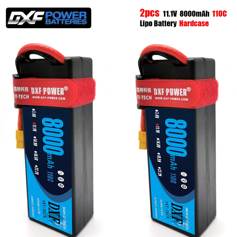 2PCS DXF Lipo Battery 2S 3S 4S 7.4V 11.1V 14.8V 6500mAh 8000mAh 60C 120C 100C 200C 110C 220C For Rc 1/8 1/10 Buggy Truggy Car enlarge