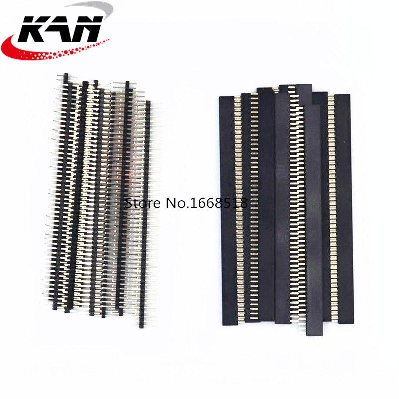 20 stücke 10 pairs 50 Pin 1x50 Einreihige Männlichen und Weiblichen 1,27 Zerbrechliche Pin Header PCB JST stecker Streifen für Arduino Schwarz