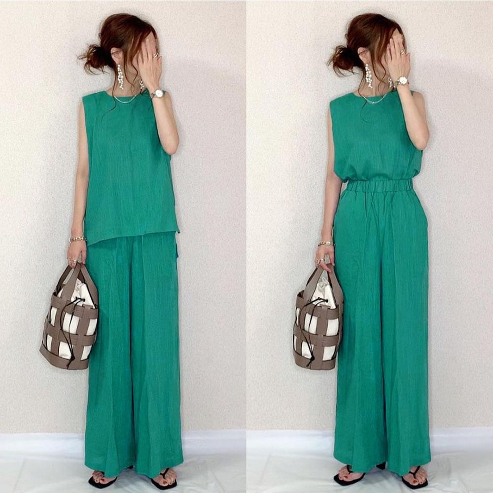 Conjunto de roupas femininas de duas peças, sem mangas, com cintura alta e calças de perna largas, para escritório, coreia, chique, 2 peças