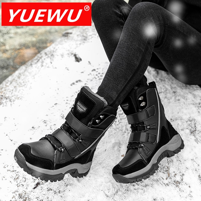 YUEWU Women'S Large Snow Keep Warm Cotton Padded Shoes Round Head Middle Cylinder Boots Comfortabl