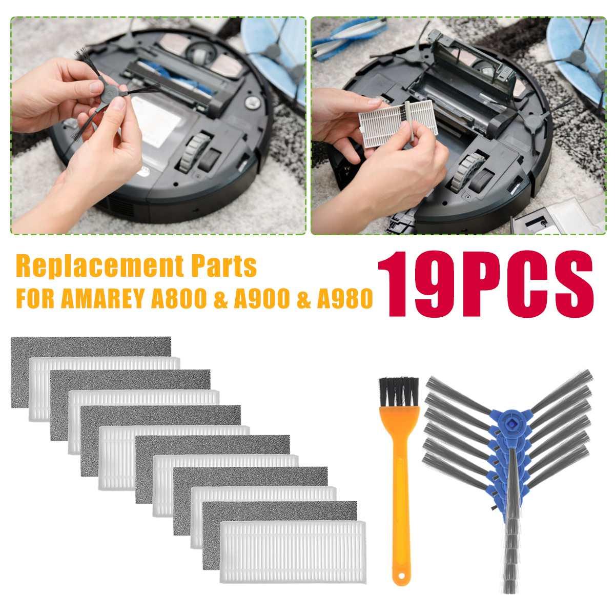 19Pcs/set Original Robot Vacuum Accessories Of Filter Main Brush Side Brush For Amarey A800 A900 A980 Roborock Vacuum Cleaner