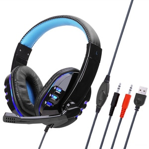 Wired Computer Gaming Headphones Portable Over-ear Game Headset With Microphone AUX+USB Port Volume Control For Desktop