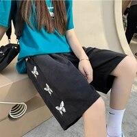 summer side butterfly knee length high waist gray shorts korean cotton sweatshorts women loose black fashion joggers shorts