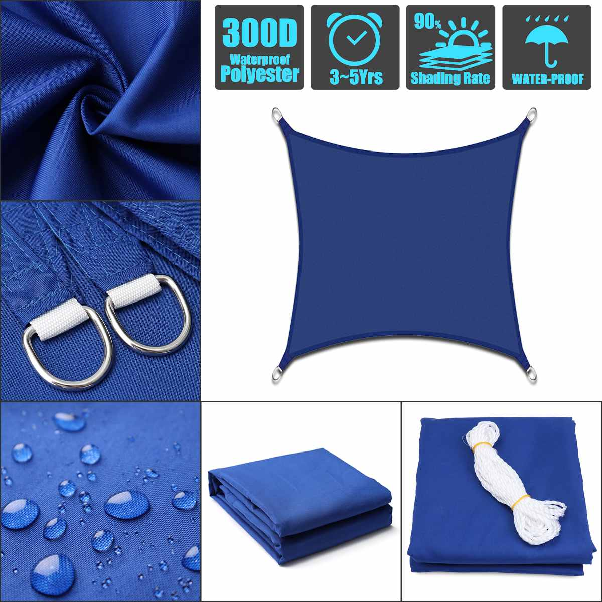Vela para sombra rectangular Oxford azul, impermeable, para jardín, terraza, dosel, natación, sombra de sol, exteriores, patio de acampar, toldos de vela
