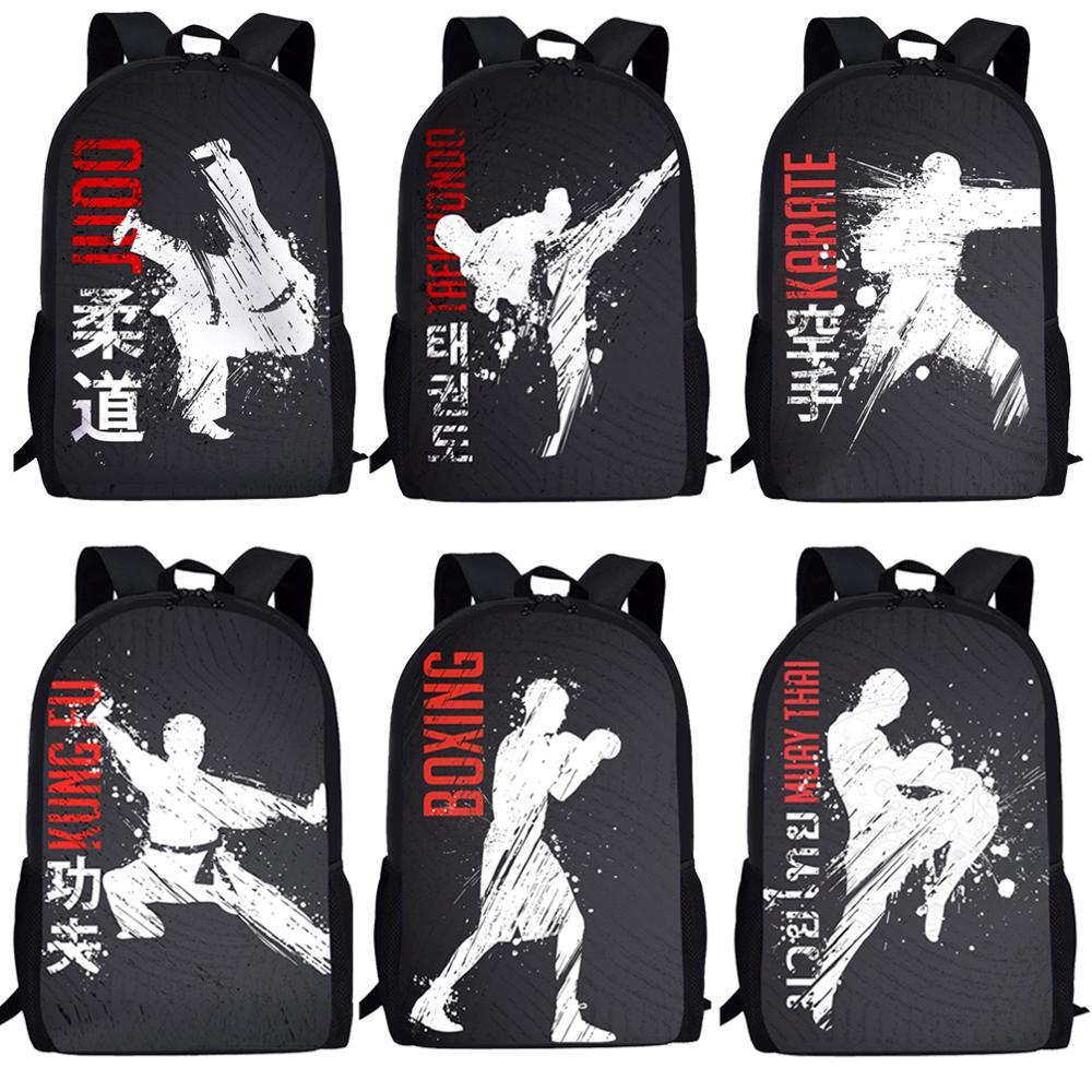 Школьные ранцы FORUDESIGNS для мальчиков и девочек, классное боевое искусство, дзюдо, каратэ, с 3D принтом для подростков, Молодежные рюкзаки для д...