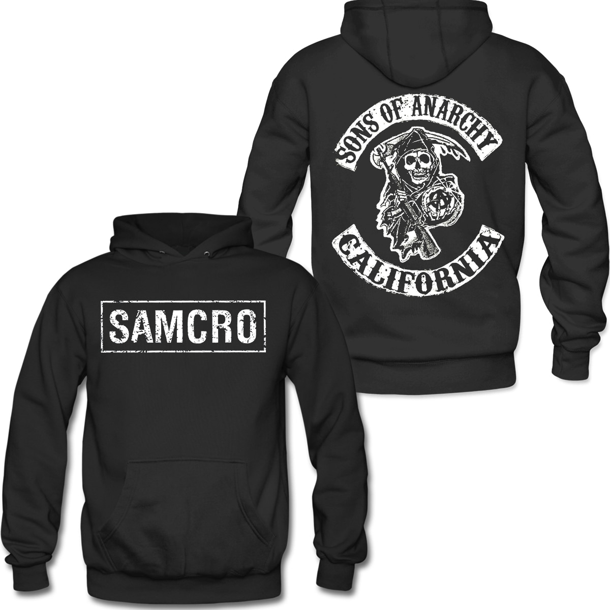 2021 Spring And Autumn Sons of Anarchy SAMCRO Double Sided Pull- Over Hoodie Sweatshirt