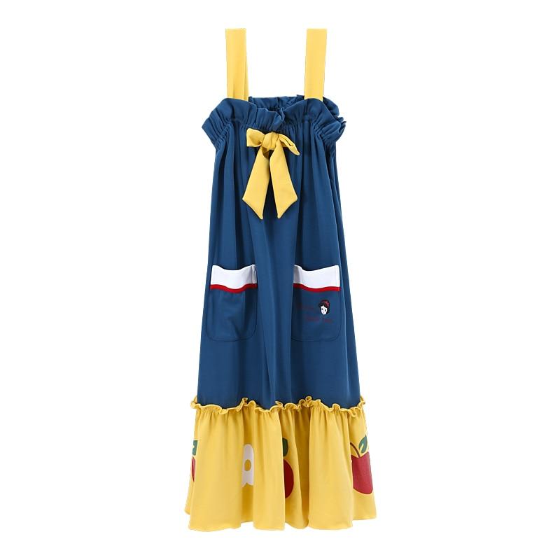 New Casual Cartoon Nightgowns Women Sling Night Dress Summer Cotton Sleepwear Dress Women Pyjamas Plus Size Lingerie Home Wear