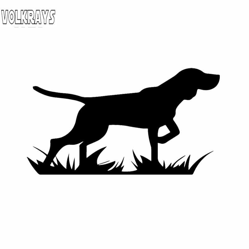 ¡Volkrays calcomanía del coche de personalidad pájaro perro puntero para caza en el punto! Funda de accesorios pegatina de vinilo rascador negro/plateado, 7cm * 15cm