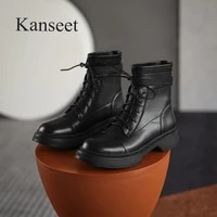 kanseet 2021 winter round toe shoes ankle boots women black beige round toe chunky heels stretch short boots zipper plus size 41