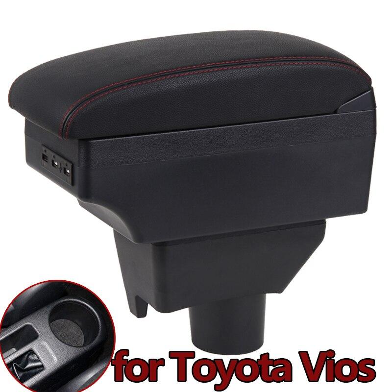 Caja de almacenamiento de consola central para Toyota Yaris L Sedan Vios 2014-2016 soporte de taza de imitación con carga USB Modif Armrest Box 2015 2016 2017