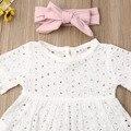 Для новорожденных детей для маленьких девочек; Кружевная одежда Топ, футболка и штаны, с короткими рукавами, 3 предмета, штаны и повязка на голову, комплект одежды Bowknote, комплект со штанами на возраст от 0 до 24 месяцев