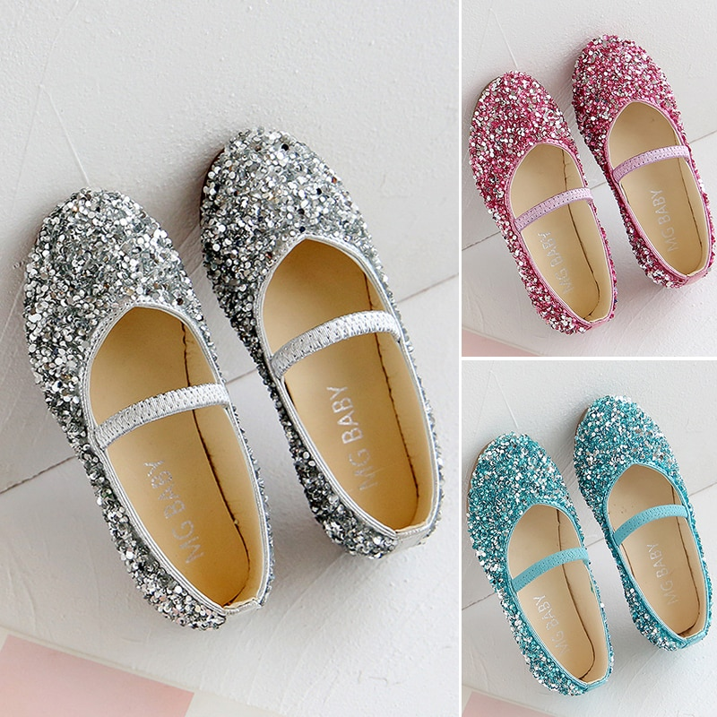 AliExpress - Children's Fashion Shoes For Girls Kids Doll Children Dress With Rhinestone Crystal Flats Pearls Princess Wedding Party