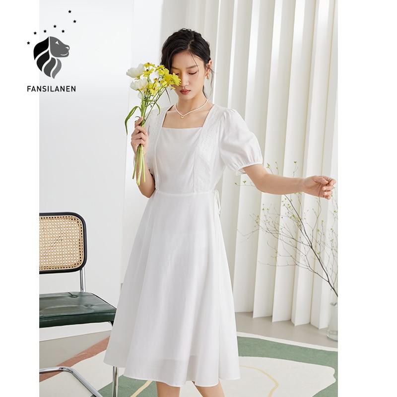 AliExpress - FANSILANEN Office Lady Sweet Lace Square Collar High Waist Dress Summer 2021 New White Puff Sleeve Chiffon Skirt Korean Dress