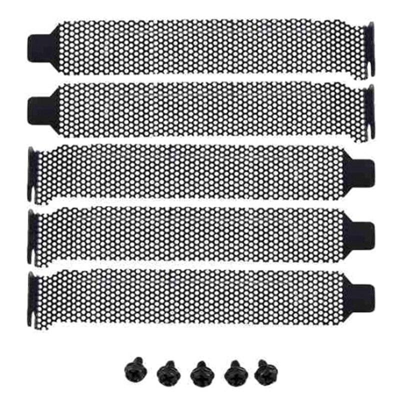 5 uds Deflector de ventilación bisel del chasis de la computadora PCI Bit bloque de ranura de expansión bisel de la tarjeta de sonido (con 5 tornillos)