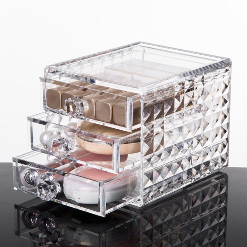 الاكريليك صندوق تخزين مستحضرات التجميل والمجوهرات يشكلون المنظم للأشياء الصغيرة للحمام مضمد 3 أدراج صندوق بلاستيكي شفاف