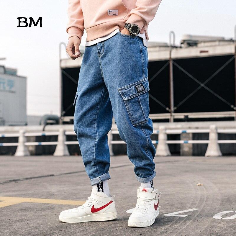 Streetwear Blue Jeans Pants Men 2020 Mens Pockets Hip Hop Overalls Cargo Pants Male Loose Fashion Denim Harem Pants