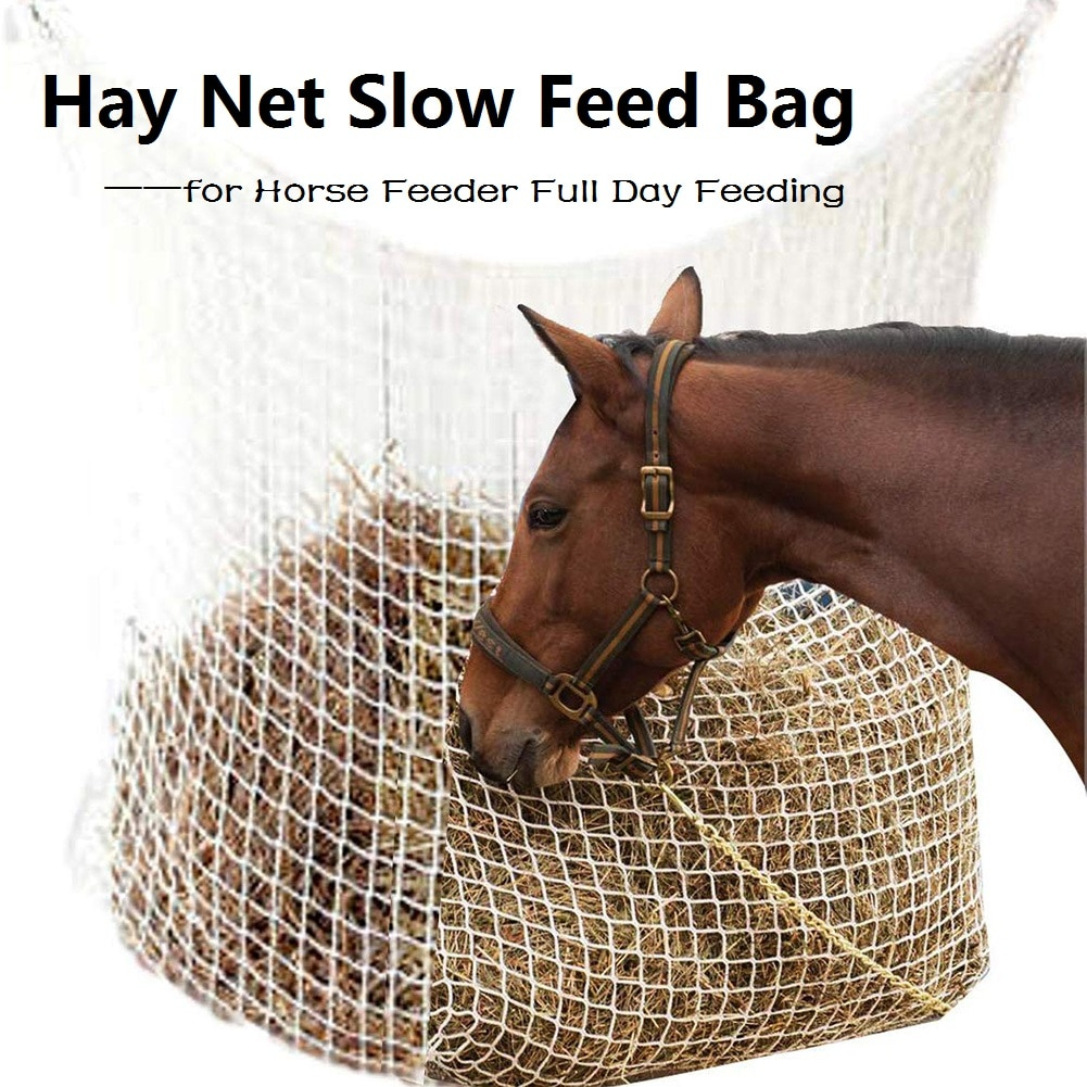 Hay Net Bag Slow Feed Bag for Horse Feeder Full Day Feeding Large Feeder Bag with Small Holes Horses Accessories Dropship