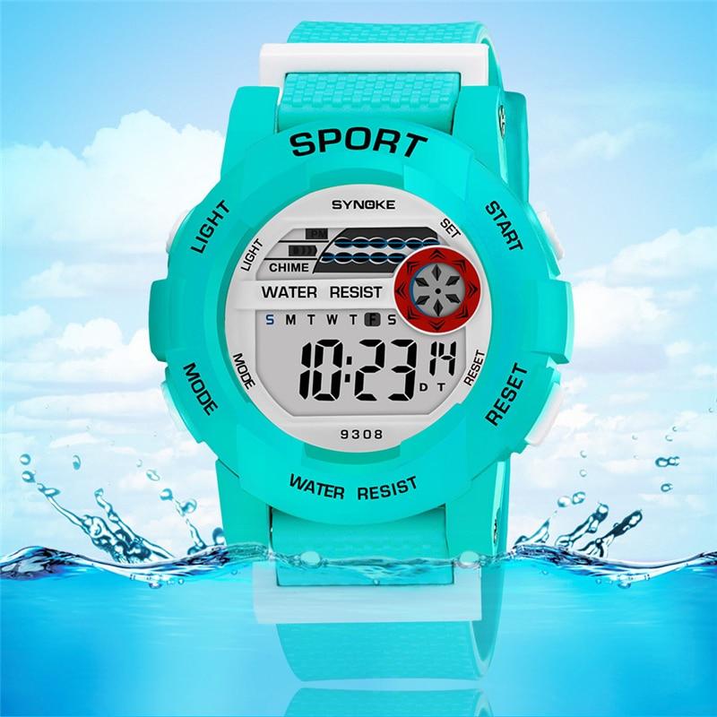 Nueva llegada de SYNOKE, relojes coloridos para niños, reloj Digital LED de 50 M, relojes deportivos impermeables para niños, relojes con alarma y fecha para niños G