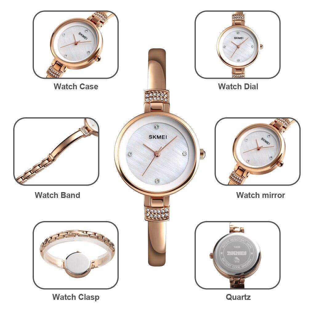 2020 SKMEI Luxury Rhinestone inlay Female Watch Women Quartz Watches 30M Waterproof Ladies Wristwatches Relogio Feminino 1409 enlarge