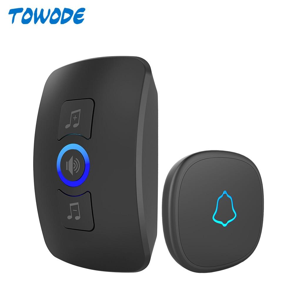 TOWODE Wireless Doorbell System EU Plug 433Mhz Home Security Welcome Smart Doorbell Kit 4 Level Volumes 32 Musics Adjustable