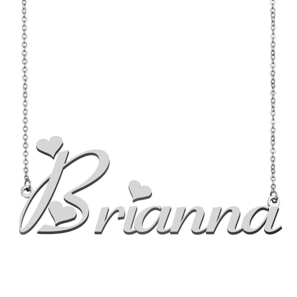 بريانا اسم قلادة شخصية الفولاذ المقاوم للصدأ المرأة المختنق 18k مطلية بالذهب الأبجدية قلادة بحرف مجوهرات أصدقاء هدية
