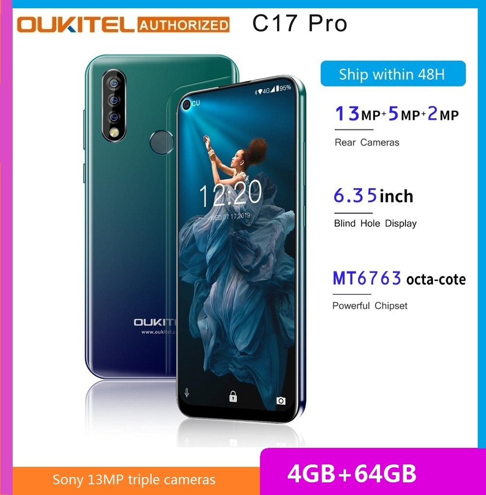 Oukitel c17 pro 6.35-inch 4g smartphone mtk6763 córtex a53 2.0 ghz 4 gb ram 64 gb rom triplo câmeras traseiras telefone móvel