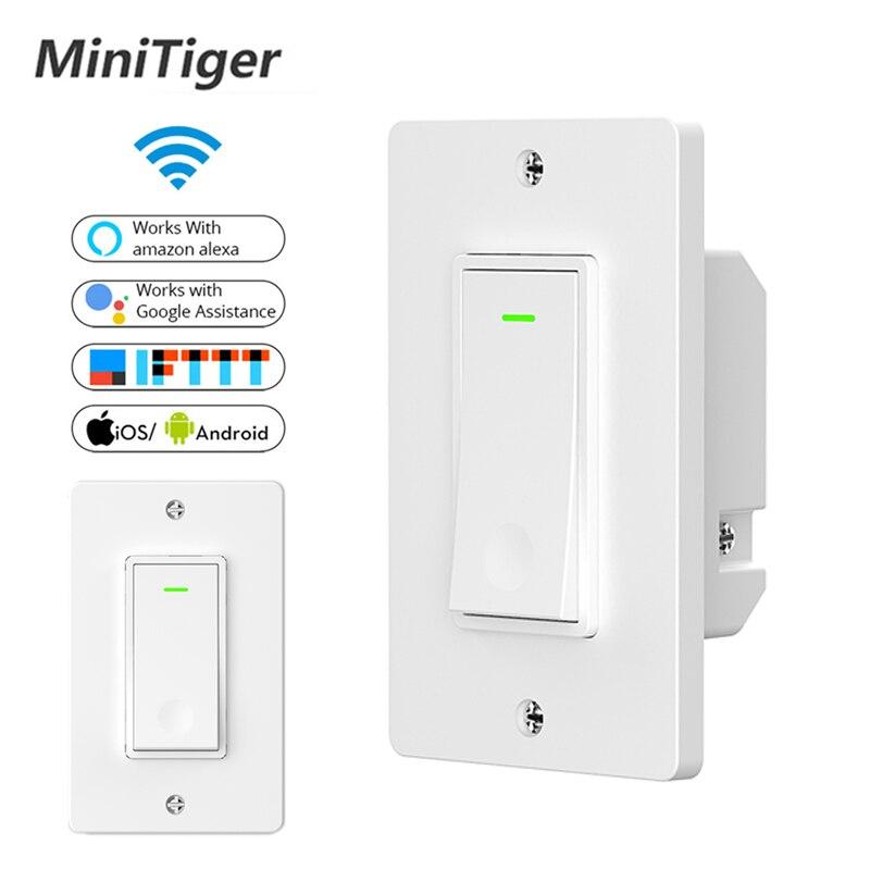 Minitiger WiFi inteligente interruptor de luz de vida inteligente/Tuya APP Control remoto trabajo con Amazon Alexa eco de Google IFTTT