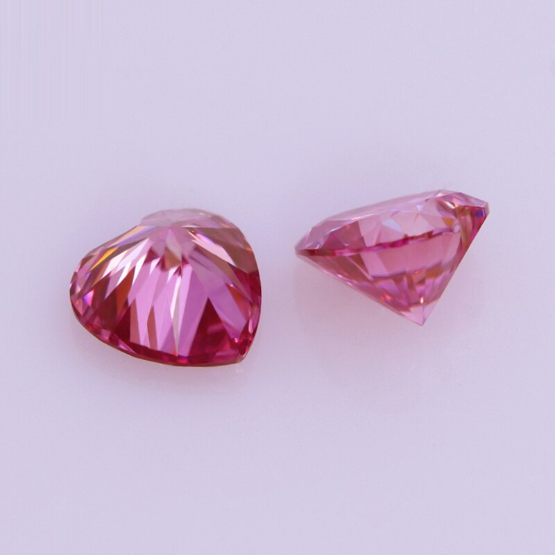 Letmexc Pink Moissanite Gemstone Heart Cut VVS1 8X8mm 2.0ct for Custom Jewelry Passed Diamond Testting with Certificate