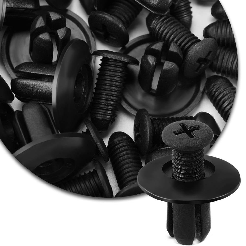 40 Uds. Negro Universal parachoques del coche 8mm agujero negro plástico remaches sujetadores Auto Accesorios