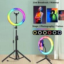 13 дюймов 33 см светодиодный селфи RGB кольцевой светильник с держателем штатива для YouTube видео красочный фон для фотосъемки светильник для студийной лампы