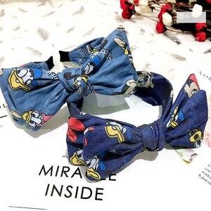 Women Hair Accessories Denim Cloth Double Layers Bowknot Hair Hoops Cute Cartoon Print Hair Band Disney Minnie Head Band Girls