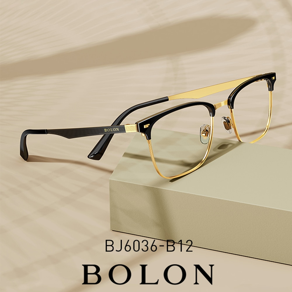 Montura de gafas óptica Retro BOLON, gafas doradas de lujo para hombre, gafas graduadas Vintage, monturas de gafas diópticas BJ6036