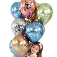 10pcs 12 inch chrome latex balloons printing happy birthday shiny birthday balloons birthday party decoration baby shower decor