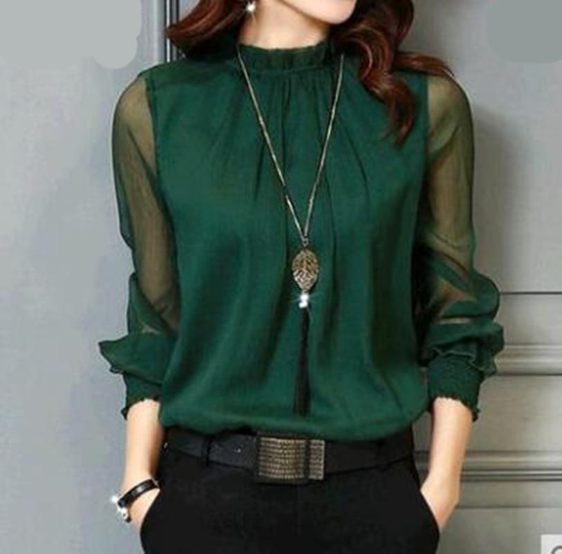 Chiffon Blouse New Women Tops Long Sleeve Stand Neck Work Wear Shirts Elegant Lady Casual Blouses women's blusas Plus size