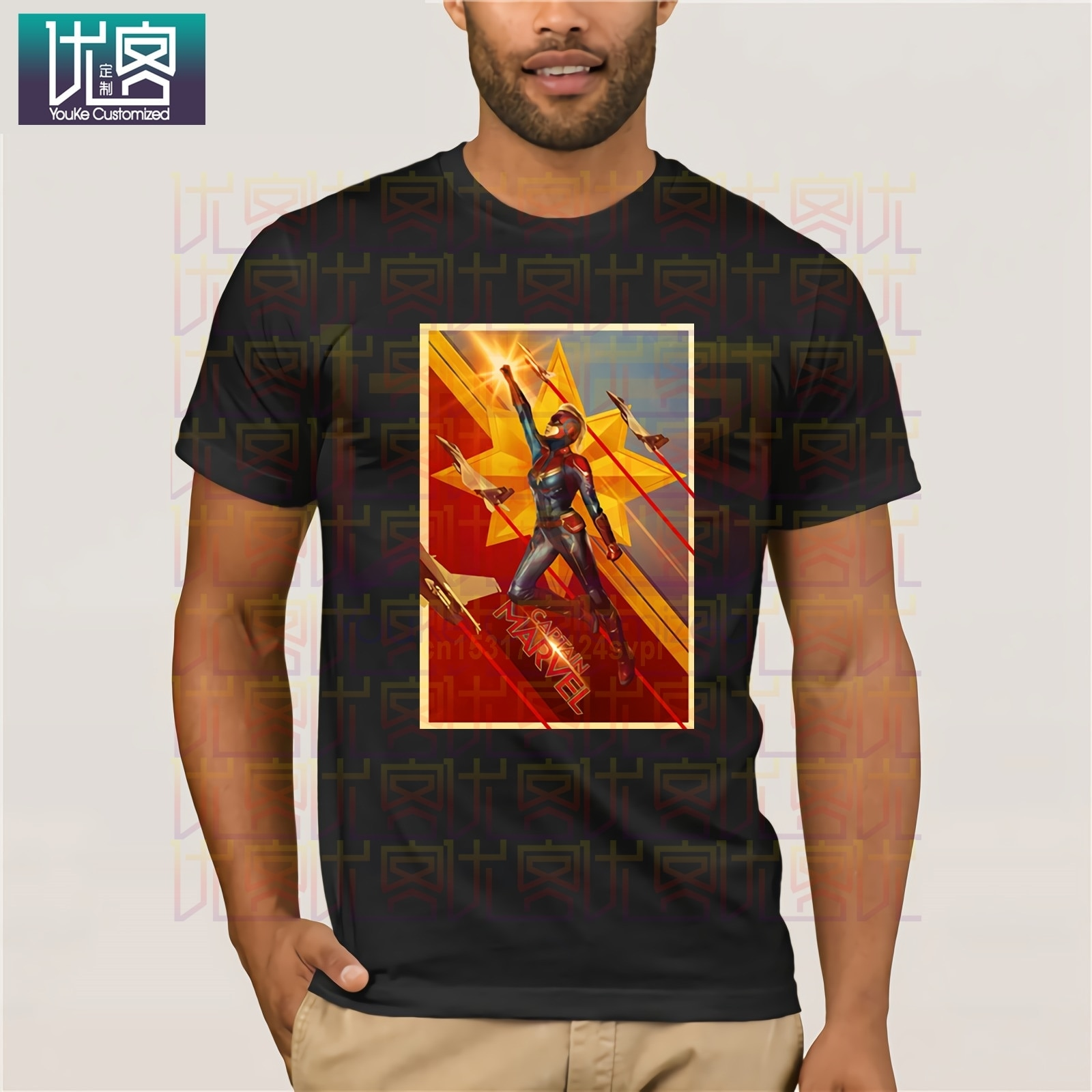 Captain Marvel Movie Fashion Tees T-Shirt Funny Cartoon Print Men Women Tee Shirt Short Sleeve T Shirt Male