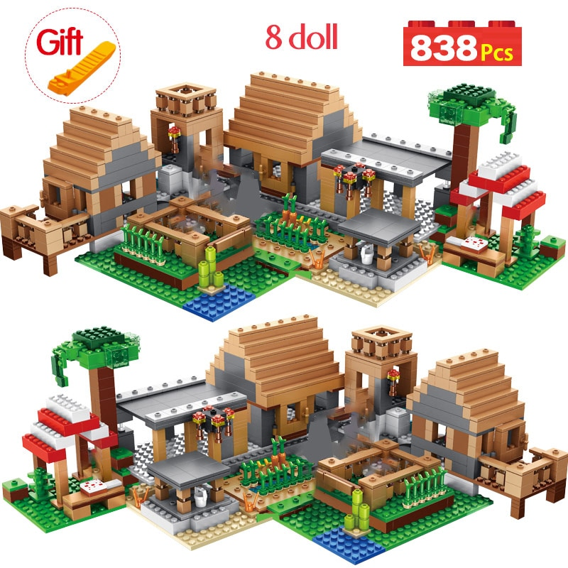 21128 My World The Farm Cottage Building Blocks Technic Compatible blocks gtost Village House Figures Brick Toys for Children