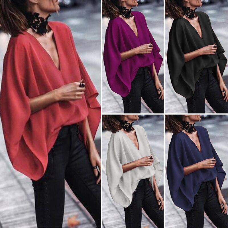 Vonda Vrouwen Sexy V Hals Lange Mouw Blouse Shirts 2020 Lente Herfst Tops Casual Losse Blusas Ol Overhemd Plus Size 5XL