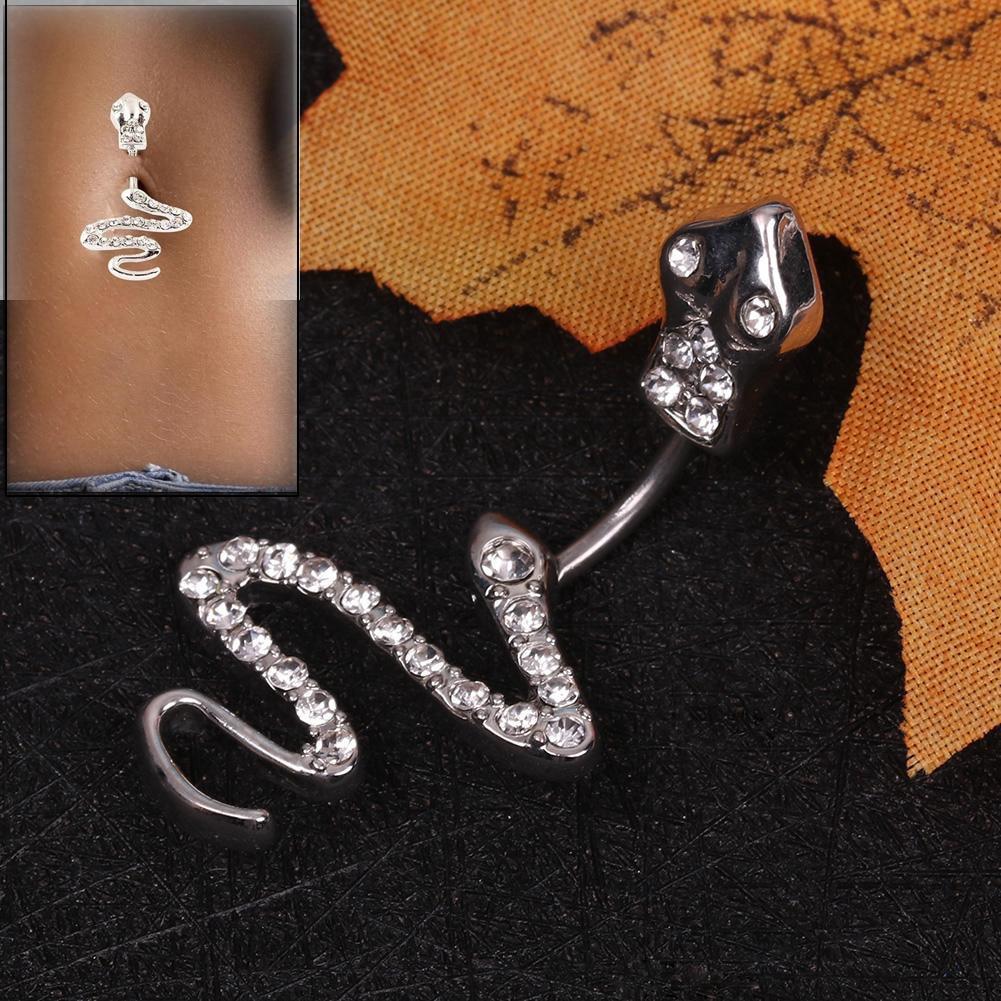 AliExpress - Women Rhinestone Snake Navel Piercing Belly Ring Body Jewelry Bar Stainless Steel Belly Button Rings