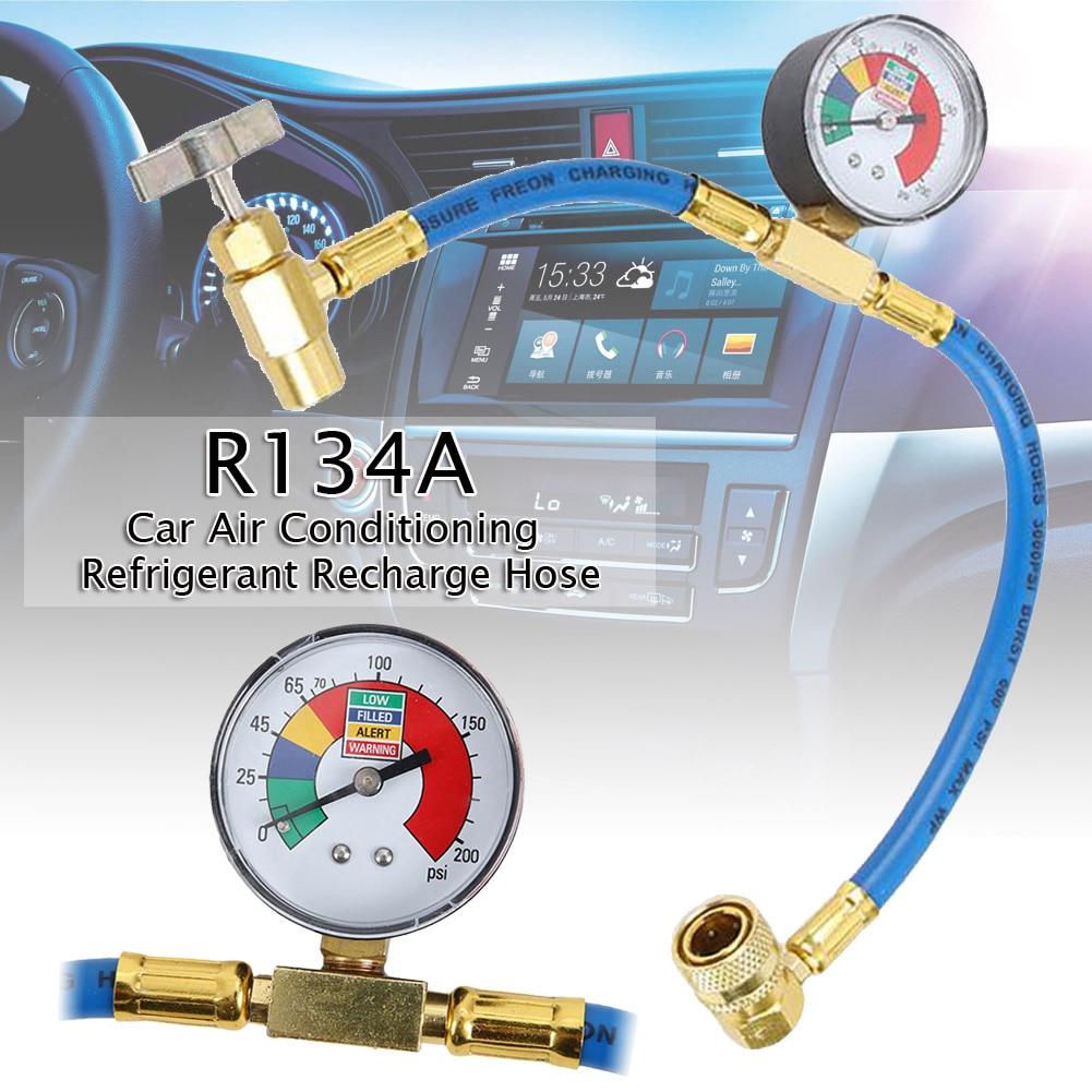 Car AC Air Conditioning R134A Refrigerant Recharge Hose Pressure Gauge Measuring Kit Copper Auto Accessories