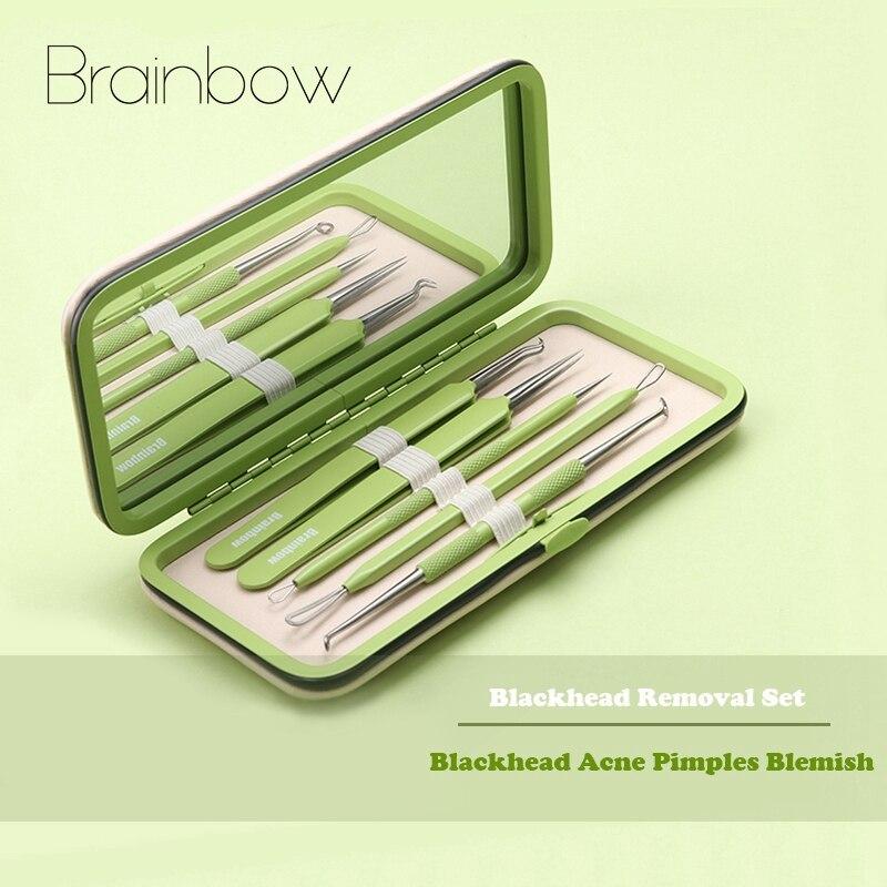 Brainbow 5pcs/Box Best Blackhead Extractor Tool Set Stainless Acne Needle Pimple Tweezers Blackhead and Comedone Acne Extractor