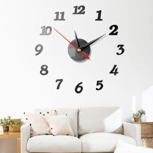 Reloj de pared grande y moderno, pegatina de espejo 3d, reloj único de números grandes, decoración Diy, reloj de pared, pegatina de arte, decoración moderna para el hogar