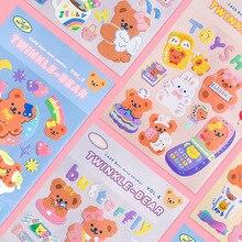 Almohmm-pegatinas de oso brillante de estilo coreano, decoración de papel de álbum de recortes, papelería creativa, serie Milkjoy, 1 ud.