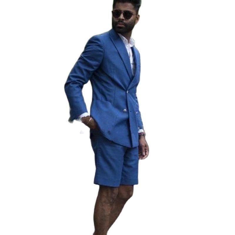 Мужские костюмы на заказ, летние короткие мужские смокинг из двух предметов, деловая одежда для выпускного вечера (пиджак + брюки)