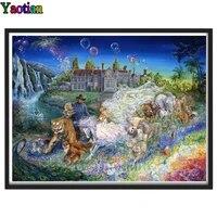 full square round diamond painting fantasy zoo princess and prince cross stitch diamond embroidery animals rhinestone pictures