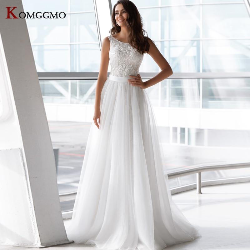 High-End Sleeveless Embroidery Appliques Tulle Detachable Train Mermaid Wedding Dress Custom Made O-Neck Zipper Back Bridal Gown