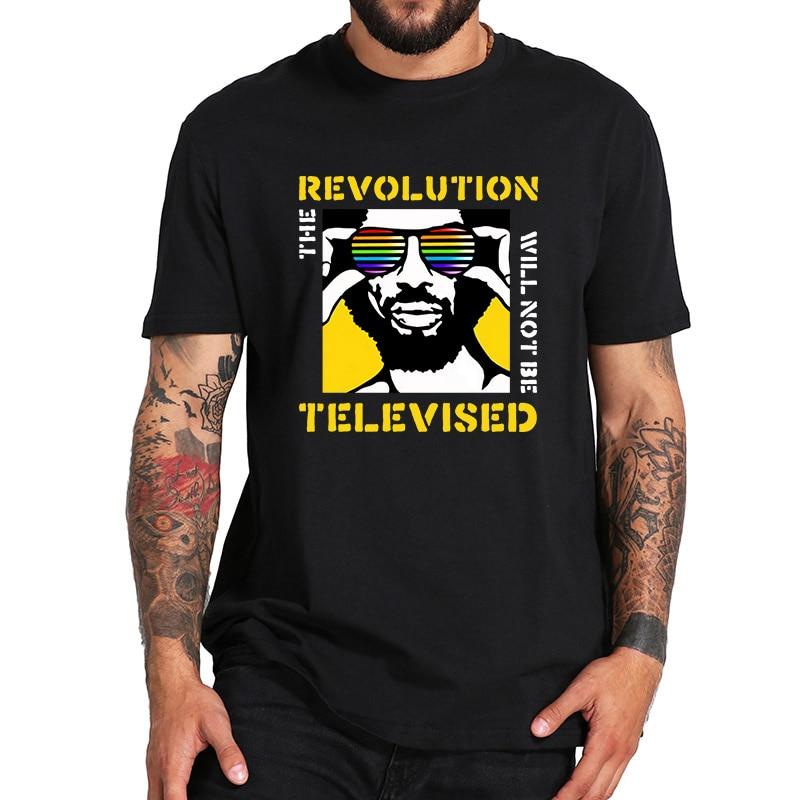 La revolución no será televisada Camiseta de gilscott-heron Camiseta de Rap Hip talla Europea algodón transpirable tela cubierta impresa Camiseta