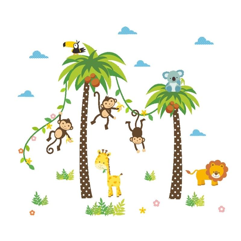 Monkey Coconut Tree Lion Pattern Cartoon Wall Sticker Home Living Room Children's Room Nursery Kindergarten Background Wall Deco