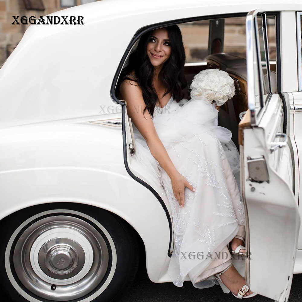 فستان زفاف مطرز بالخرز ، فستان زفاف فاخر مثير ، ترتر صدفي ، تنورة طويلة ، قطار أبيض ، مقاس كبير ، عرض ، 2021