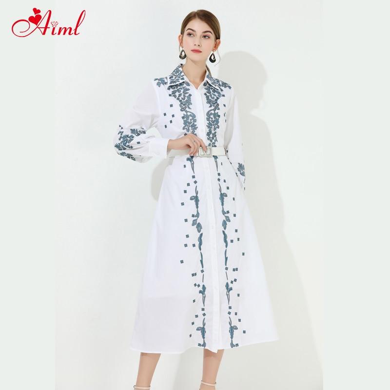 Diseñador 2020 moda de verano vestido blanco mujer elegante manga larga cinturón bordado fiesta Festival vestidos bata mujer nuevo